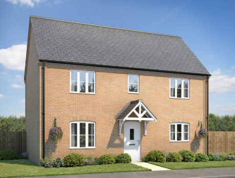 Architectural CGI impression of the Narborough house type on the Ellingham housing development