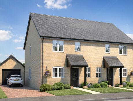 Architectural CGI impression of the Gunthorpe house type on the Ellingham housing development