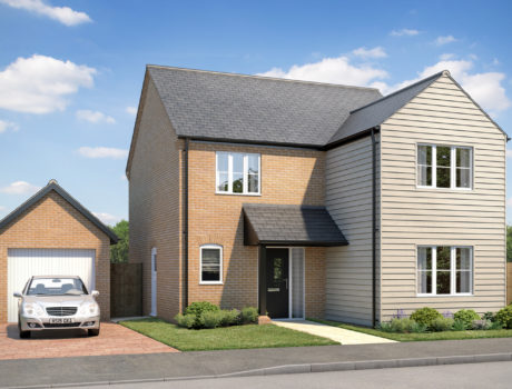 Architectural CGI impression of the Kimberley house type on the Ellingham housing development