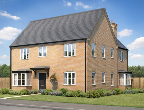 Architectural CGI impression of the Blickling house type on the Ellingham housing development